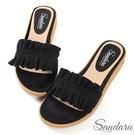 拖鞋 甜美荷葉邊絨布平底拖鞋-黑