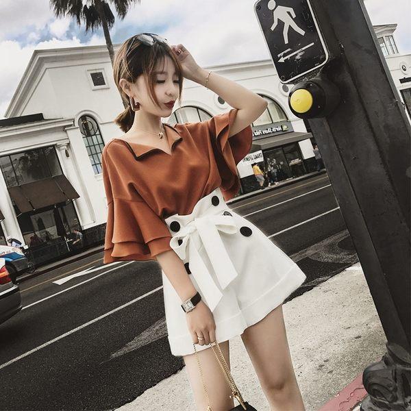 38折專區 小香風高腰寬口短褲名媛套裝寬鬆時尚套裝短袖褲裝