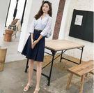 OL洋裝 時尚V領條紋襯衫連身裙2019...
