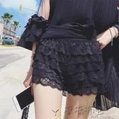 大碼黑色蕾絲防走光安全褲三分褲夏外穿內搭打底褲女士保險褲薄款