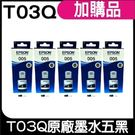 EPSON T03Q100 黑 原廠防水填充墨水 盒裝x5
