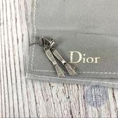 BRAND楓月 CHRISTIAN DIOR 迪奧 蝴蝶結 水鑽 耳環 3.1G 銀 飾品 配件 精品