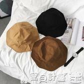 復古老帽 韓國大檐帽子遮陽防曬純色漁夫帽男女原宿休閒盆帽潮 寶貝計畫