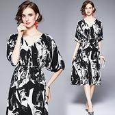 中大尺碼洋裝連身裙~寬松高級感連身裙女V領設計感小眾氣質長裙子 536#H405A莎菲娜