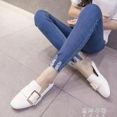 新款韓版高腰九分牛仔褲女學生顯瘦百搭緊身小腳長褲  蓓娜衣都