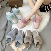 半拖鞋女外穿加絨保暖學生休閒居家用室內平底防滑韓版時尚棉拖鞋  蘑菇街小屋