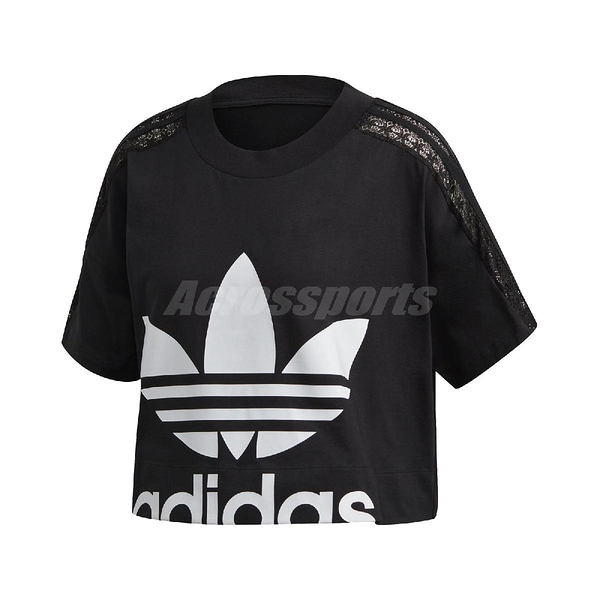 adidas 短袖T恤 Cropped Lace Tee 黑 白 女款 短版 運動休閒 【ACS】 FM1738