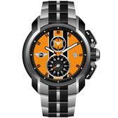 【僾瑪精品】MINI Swiss Watches 急速奔騰三眼計時腕錶-橘/45mm (MINI-38)