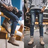 馬丁靴 馬登中幫馬丁靴男英倫風短靴雪地靴冬季男鞋加絨高幫工裝靴潮靴子 都市時尚