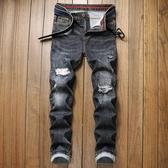 特惠 歐美外貿新款男式牛仔褲修身直筒乞丐破洞牛仔褲休閑個性長褲