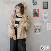 CANTWO JEANS斜紋連帽抽繩風衣外套-卡其