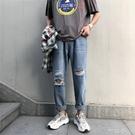 男生褲子ins原宿風潮流牛仔褲韓版寬鬆直筒乞丐褲夏季破洞九分褲【快速出貨】