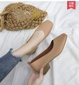 低跟鞋2019新款女鞋韓版百搭網紅低跟淺口單鞋壹腳蹬方頭復古奶奶鞋 【時尚新品】