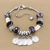 串珠手鍊-時尚熱銷硬幣吊墜水晶飾品女配件73kc243【時尚巴黎】