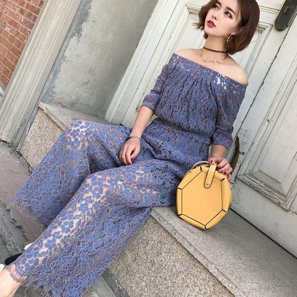 FINDSENSE G6 韓國時尚 夏季 鏤空 高腰 連身褲 露肩 蕾絲 闊腿褲 長褲