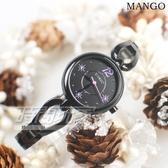 MANGO 星芒晶鑽輕巧手鍊女錶 藍寶石水晶防水手錶 紫xIP黑電鍍 MA6730L-74