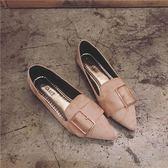 四季單鞋韓版尖頭平底鞋大碼女鞋休閒鞋學生平跟豆豆鞋     俏女孩
