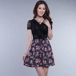 夏裝淑女修身熱賣波西米亞配腰帶蕾絲短袖連衣裙 促銷