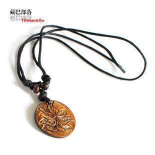 圖案犛牛骨繩編藏飾項鏈