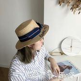 沙灘帽 大簷拉菲草帽子女夏天英倫百搭平頂禮帽沙灘帽女 「潔思米」
