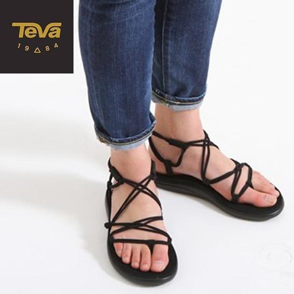 丹大戶外【TEVA】美國 骨感顯白涼鞋 女鞋 黑色 TV1019622BLK 羅馬鞋│休閒拖鞋│沙灘鞋│鞋子