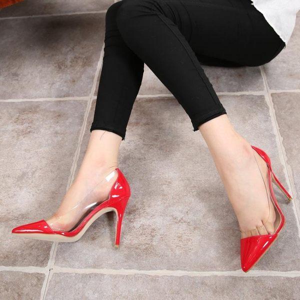 裸色新款歐美秋季透明尖頭高跟鞋淺口細跟鞋性感拼色單鞋婚鞋女鞋 居享優品