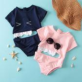韓版可愛卡通三角褲鯊魚沙灘游泳衣童泳裝兒童男女寶寶連體泳衣 森活雜貨