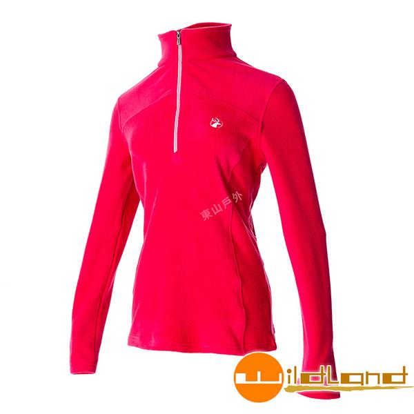 Wildland 荒野 0A52501-26芙蓉紅 女彈性PILE保暖衣 輕量/爬山健行休閒衫/保暖衣