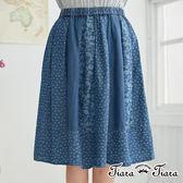 【Tiara Tiara】花藤碎花牛仔風格半身裙(深藍/淺藍) 新品穿搭