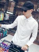 長袖襯衫夏季白襯衫男士長袖韓版修身黑色潮流休閒襯衣男短袖大碼正裝稱衫 【免運】