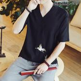短袖T恤男亞麻中式仙鶴刺繡青年上衣中國風