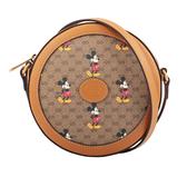 【GUCCI】Disney x Gucci GG 帆布圓餅包(焦糖色)(迷你) 603938 HWUBM 8559