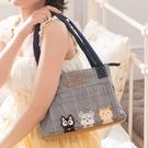 Kiro貓‧小黑貓與雪納瑞 典雅格紋 手提包/肩背包/小方包【810082】