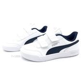 《7+1童鞋》中童 PUMA Caracal V PS 皮革 個性 魔鬼氈 板鞋 8297 白色