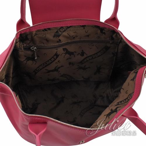 茱麗葉精品【全新現貨】Longchamp Le Pliage Cuir 折疊小羊皮短把兩用包.粉桃 #1512
