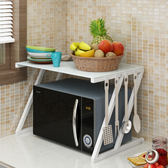 鋼化玻璃微波爐置物架2層廚房收納調味料烤箱架落地電飯煲架雙層WY 全館87折