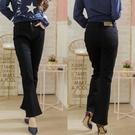 彈性口袋造型中腰黑色魔術瘦身喇叭褲 Only You 中大尺碼 【A7536】