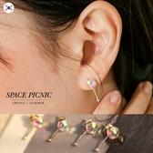 耳環 Space Picnic|正韓-水鑽一字耳針耳環(現貨)【K20044019】