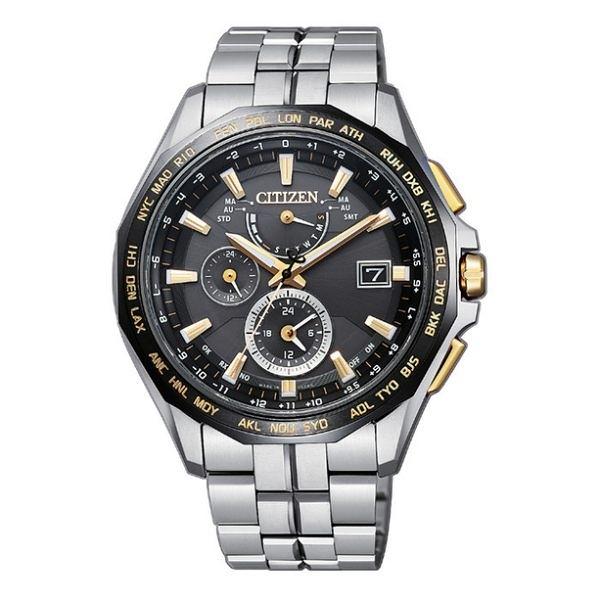 CITIZEN星辰 吳慷仁配戴款 GENT'S鈦金屬電波計時光動能時尚腕錶-黑x金 AT9095-50E