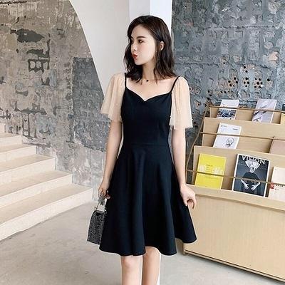 洋裝V領網紗拼接連身裙S-3XLV領洋氣連身裙復古赫本風釘珠網紗拼接小黑裙5783 1F-A126-D 韓依紡