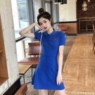 Polo裙辣妹洋裝新款性感女人味黑色減齡高檔夏天顯瘦修身a字裙 快速出貨