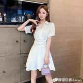 白色襯衫裙女夏季新款修身顯瘦短袖襯衣洋裝氣質女神范衣服