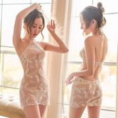 成人性感蕾絲情趣內衣服露背透明騷小胸女激情套裝三點式夜店制服