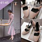大尺碼女鞋-凱莉密碼-時尚小方頭珍珠飾扣...