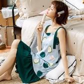 純棉吊帶睡衣少女夏季薄款甜美性感可愛家居服睡裙 扣子小鋪