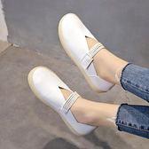 護士鞋子 平底單鞋女夏季新款百搭韓版一腳蹬奶奶鞋孕婦女鞋軟底護士鞋 卡菲婭