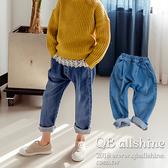 男童長褲 女童長褲 基本款鬆緊腰口袋哈倫寬管長褲 韓國外貿中大童 QB allshine