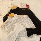 罩衫 秋冬2020新款雷絲上衣女超仙網紗精緻內搭洋氣小衫雪紡蕾絲打底衫易家樂