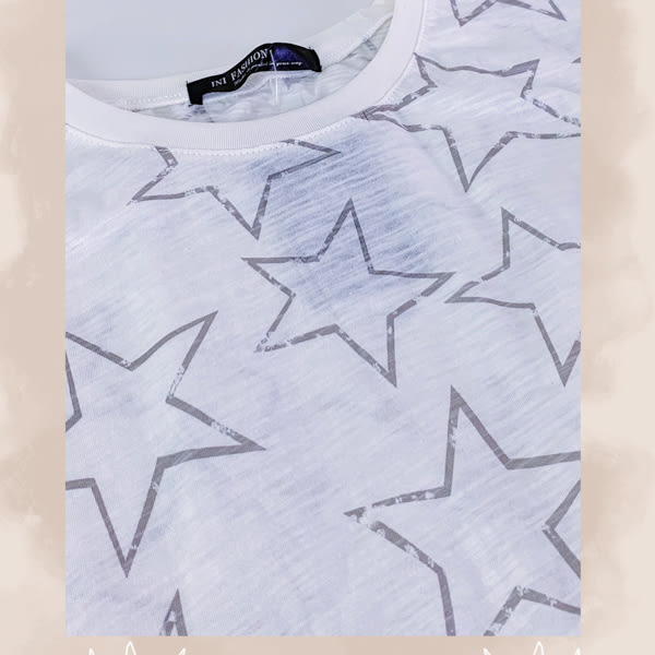 【INI】週慶限定、滿版印花星星上衣.灰色