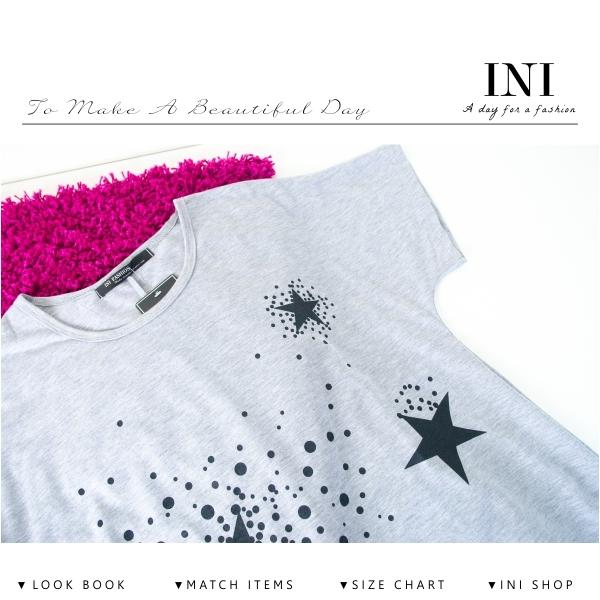 【INI】輕鬆自在、輕柔薄棉印花寬版上衣.灰色